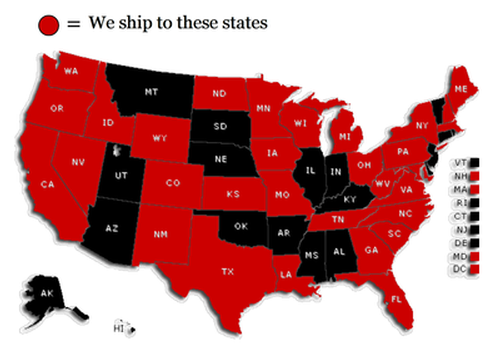 Chateau Morrisette ships to these states